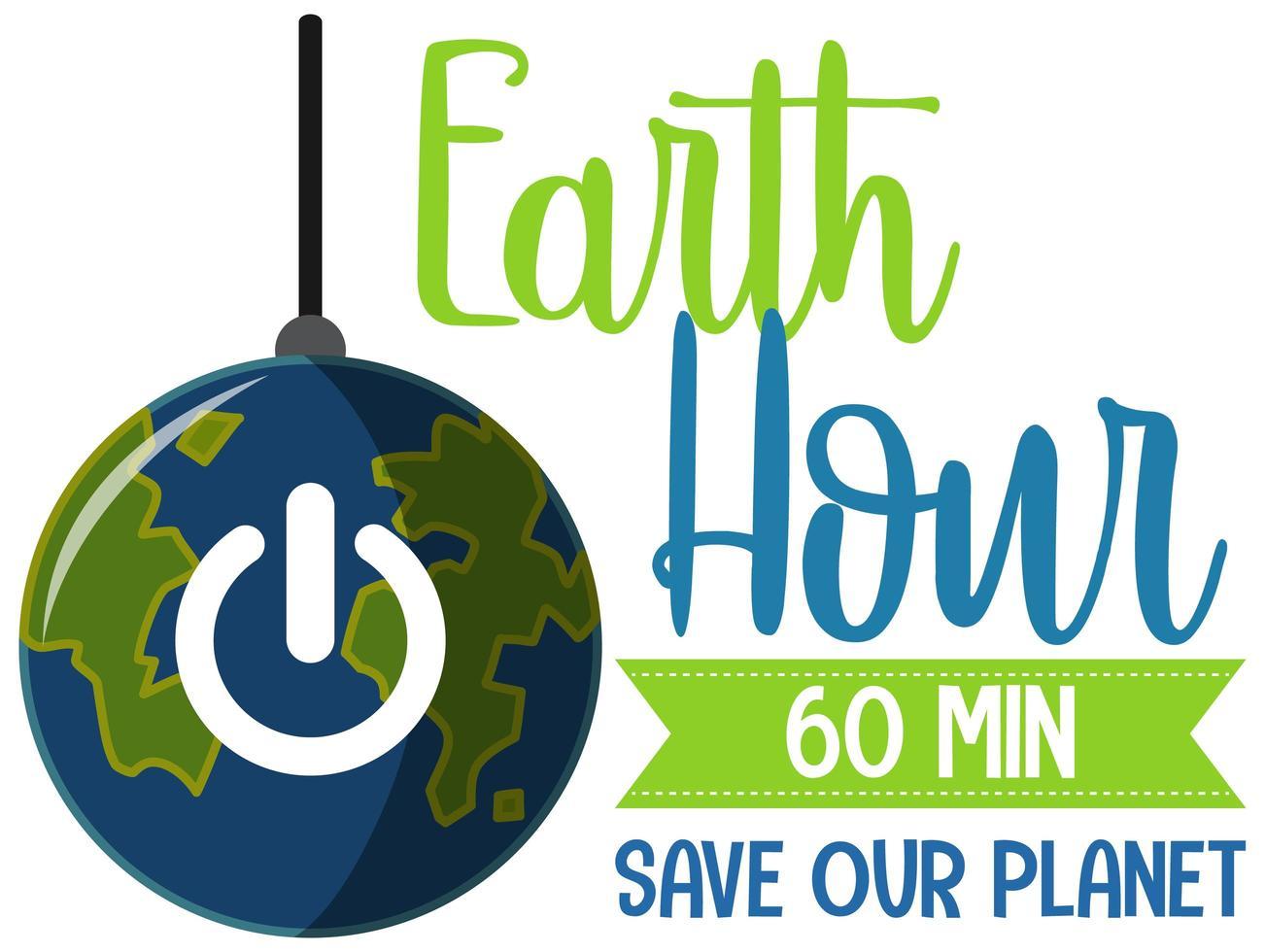 affiche ou bannière de la campagne heure de la terre éteignez vos lumières pour notre planète 60 minutes vecteur