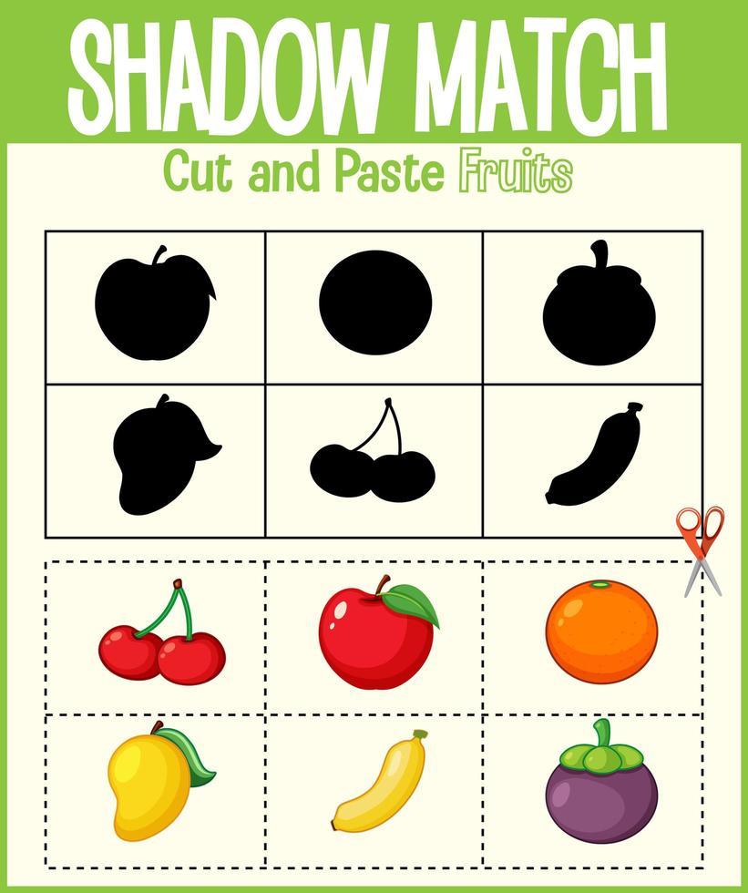 trouver la bonne feuille de calcul d'ombre et de correspondance d'ombre pour l'élève de la maternelle vecteur