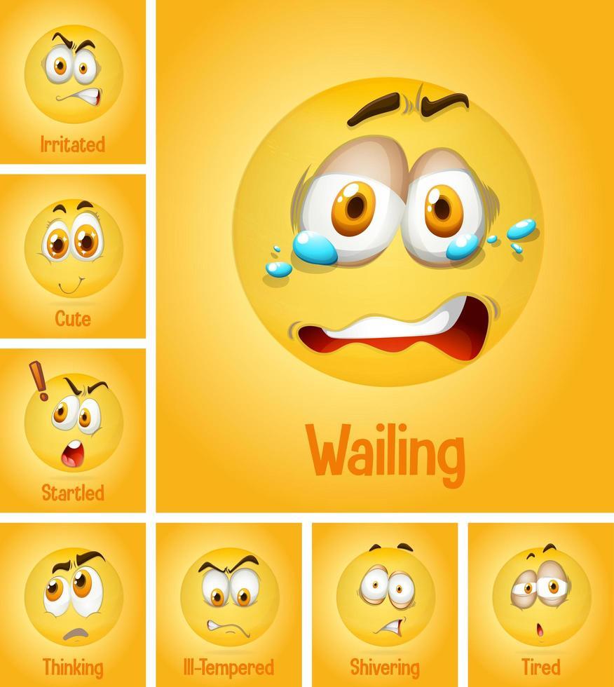 Ensemble de différents visages jaunes d'émotion avec texte fatigué sur fond jaune vecteur