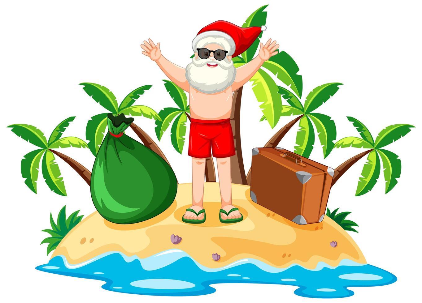 le père noël sur l'île de la plage pour l'été noël vecteur