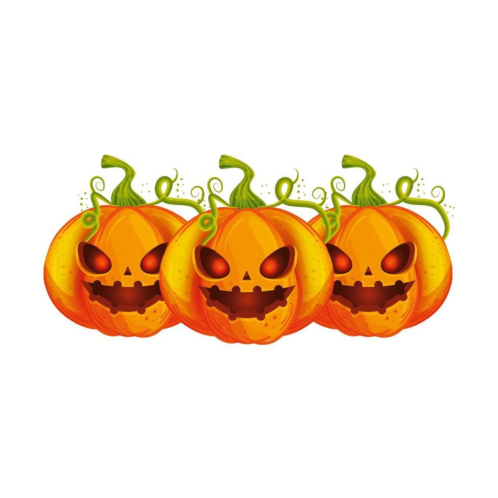 composition de citrouilles d'halloween effrayante vecteur