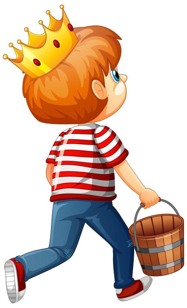Face arrière d'un garçon tenant un personnage de dessin animé de seau en bois isolé sur fond blanc vecteur