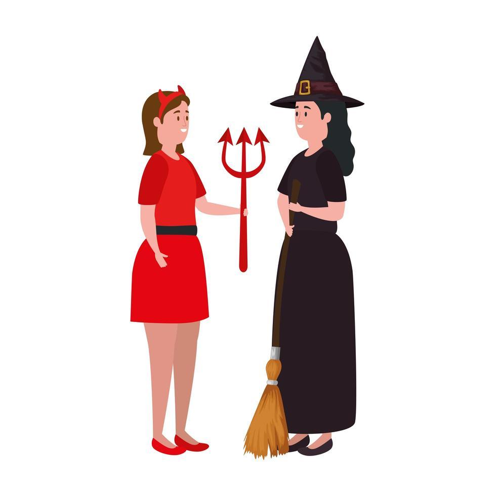 femmes en costumes d'halloween vecteur