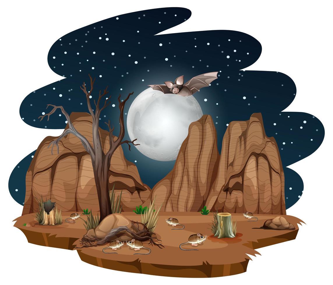 désert sauvage avec des animaux du désert la nuit sur fond blanc vecteur