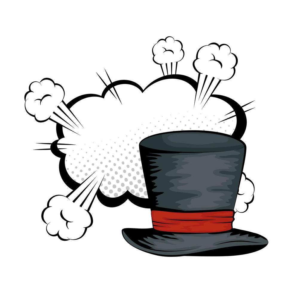 chapeau haut de forme magicien halloween pop art vecteur