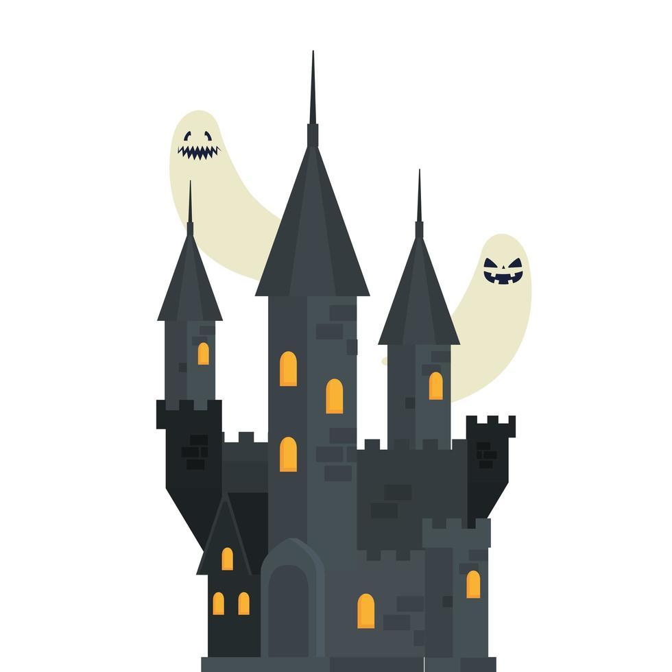 château hanté d'halloween avec des fantômes vecteur