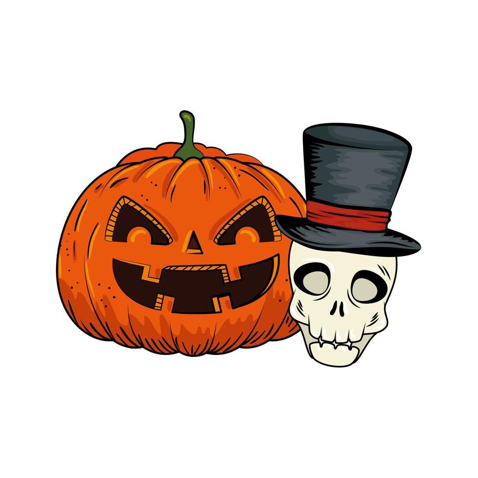 citrouille d'halloween et crâne vecteur