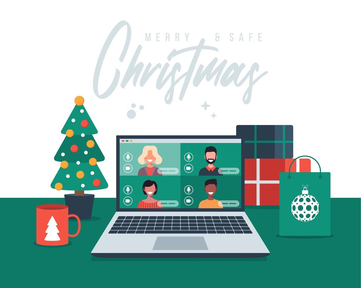 voeux de Noël avec des appels vidéo en famille ou entre amis vecteur