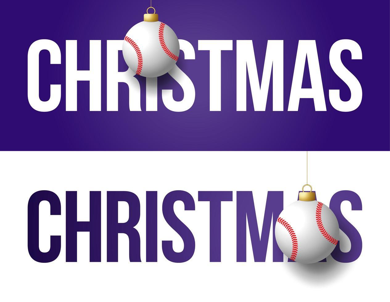 bannières de Noël avec des ornements de baseball vecteur