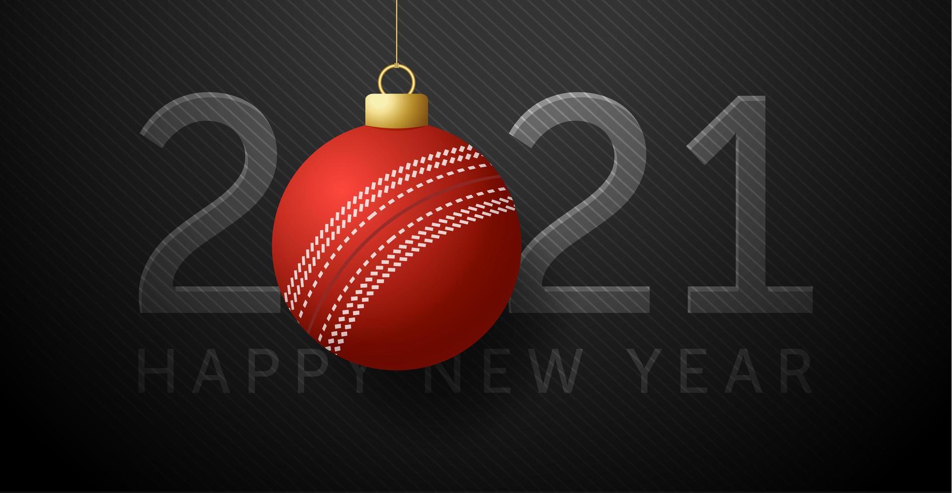 carte de nouvel an 2021 avec ornement de balle de cricket vecteur