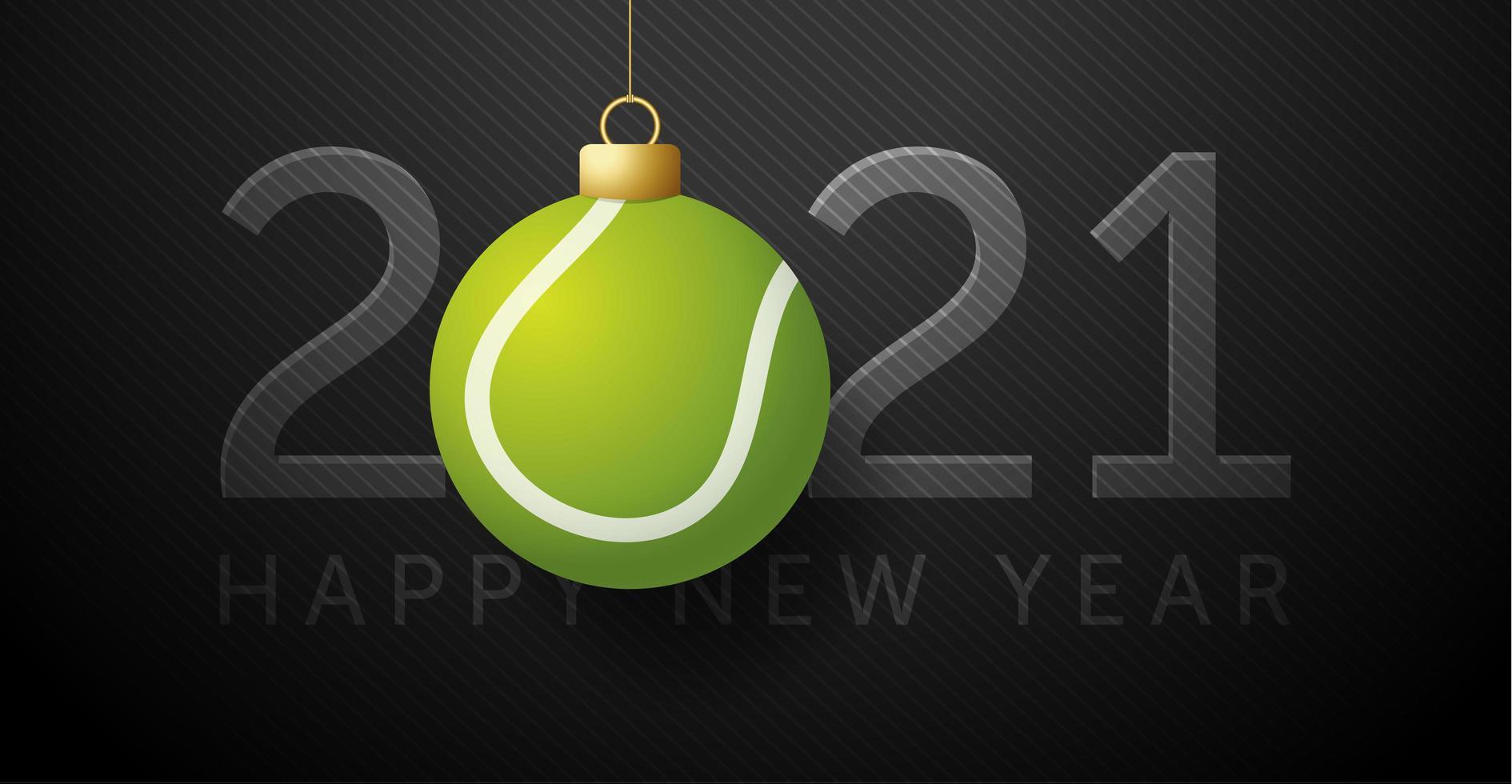 carte de nouvel an 2021 avec ornement balle de tennis vecteur