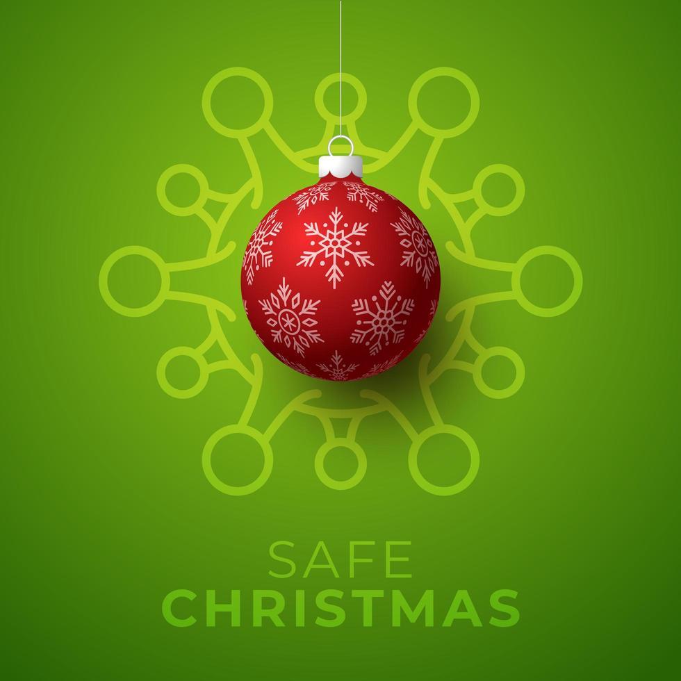 affiche verte de boule de noël rouge et de cellule de coronavirus vecteur