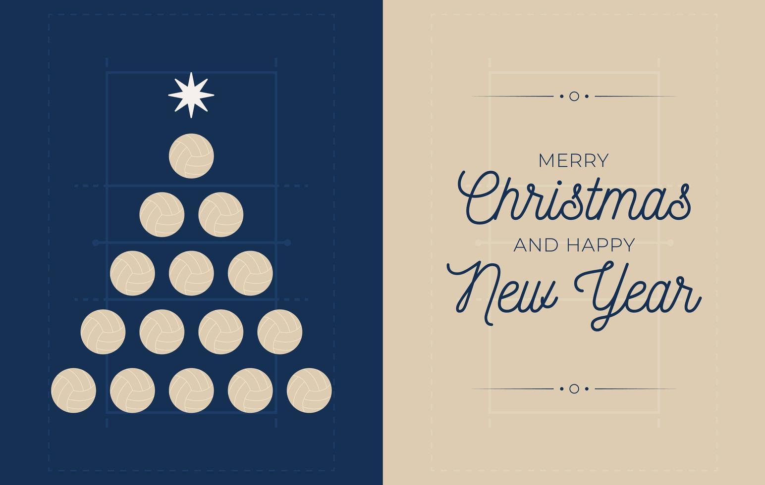 bannière de vacances avec arbre de Noël de volleyball vecteur