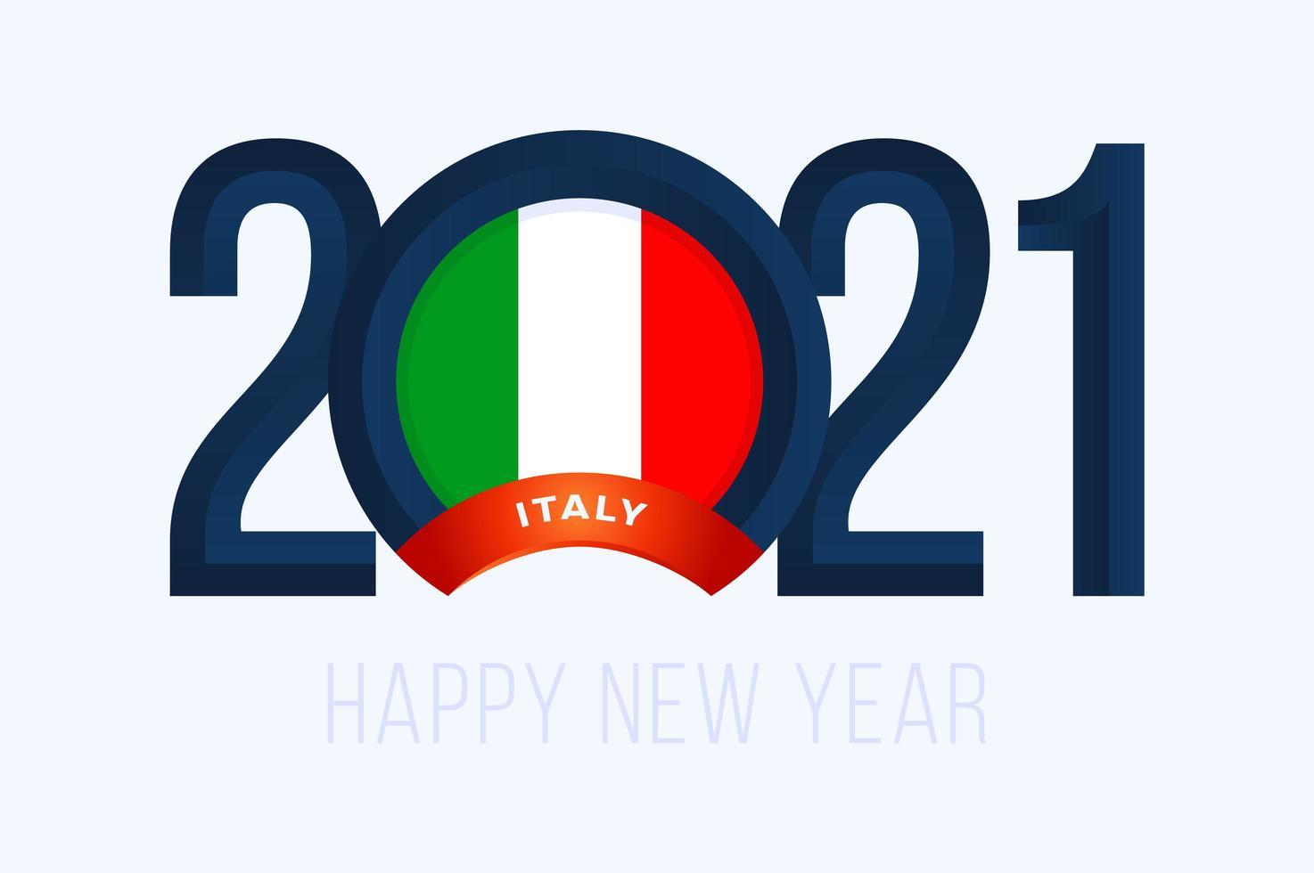 typographie du nouvel an 2021 avec drapeau italie vecteur