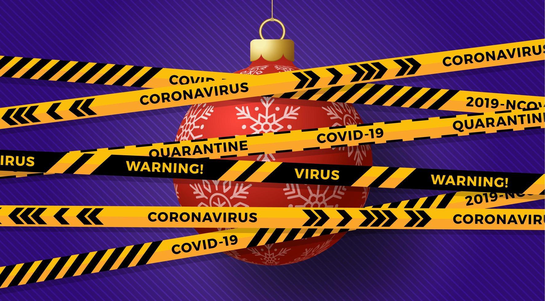 boule de noël rouge couverte par du ruban de mise en garde contre le coronavirus vecteur