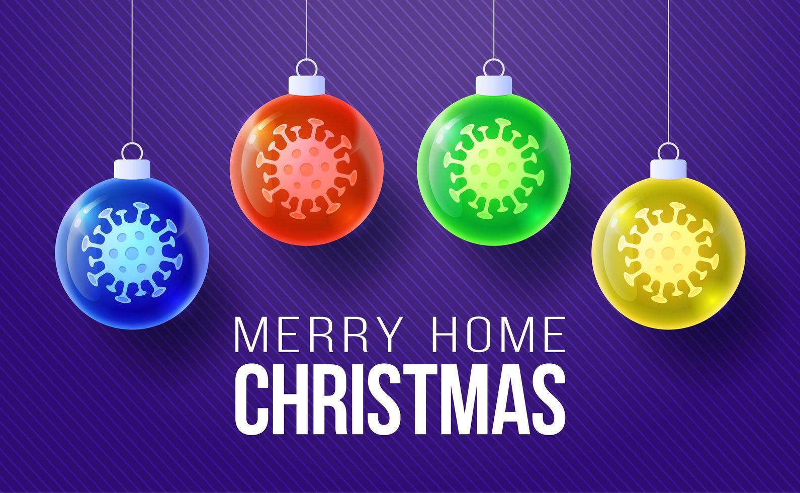bannière de boule de coronavirus de Noël en verre vecteur