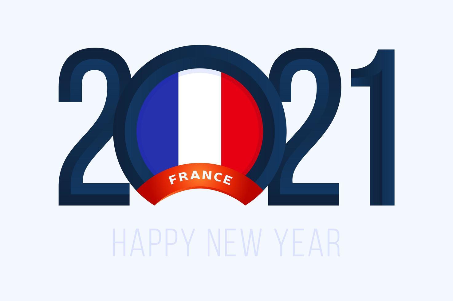 typographie du nouvel an 2021 avec le drapeau de la france vecteur