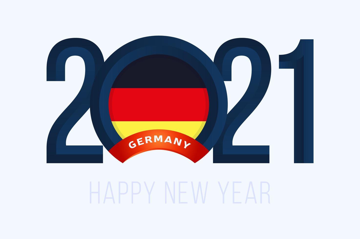 typographie du nouvel an 2021 avec le drapeau de l'allemagne vecteur