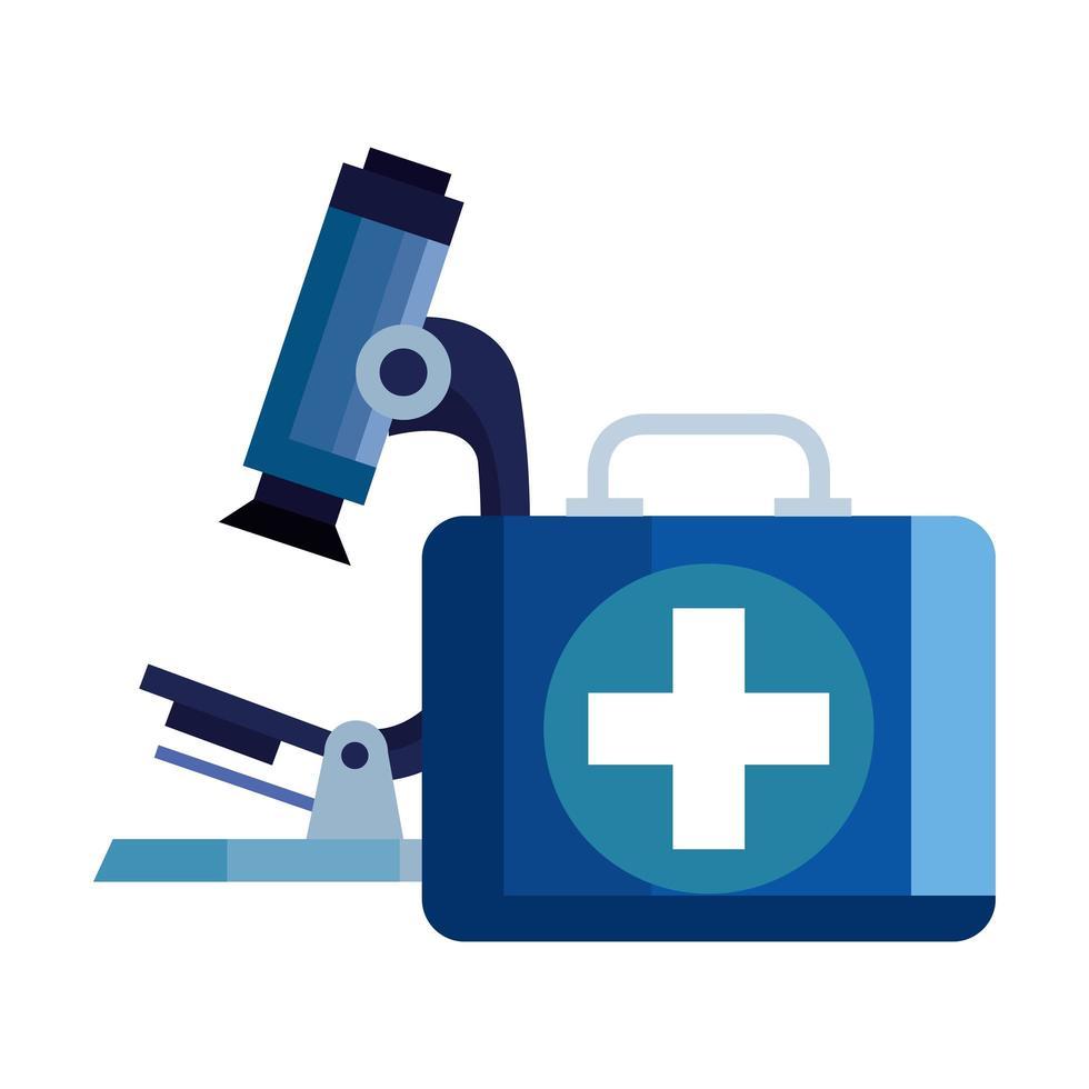 microscope avec trousse de premiers soins icône isolé vecteur