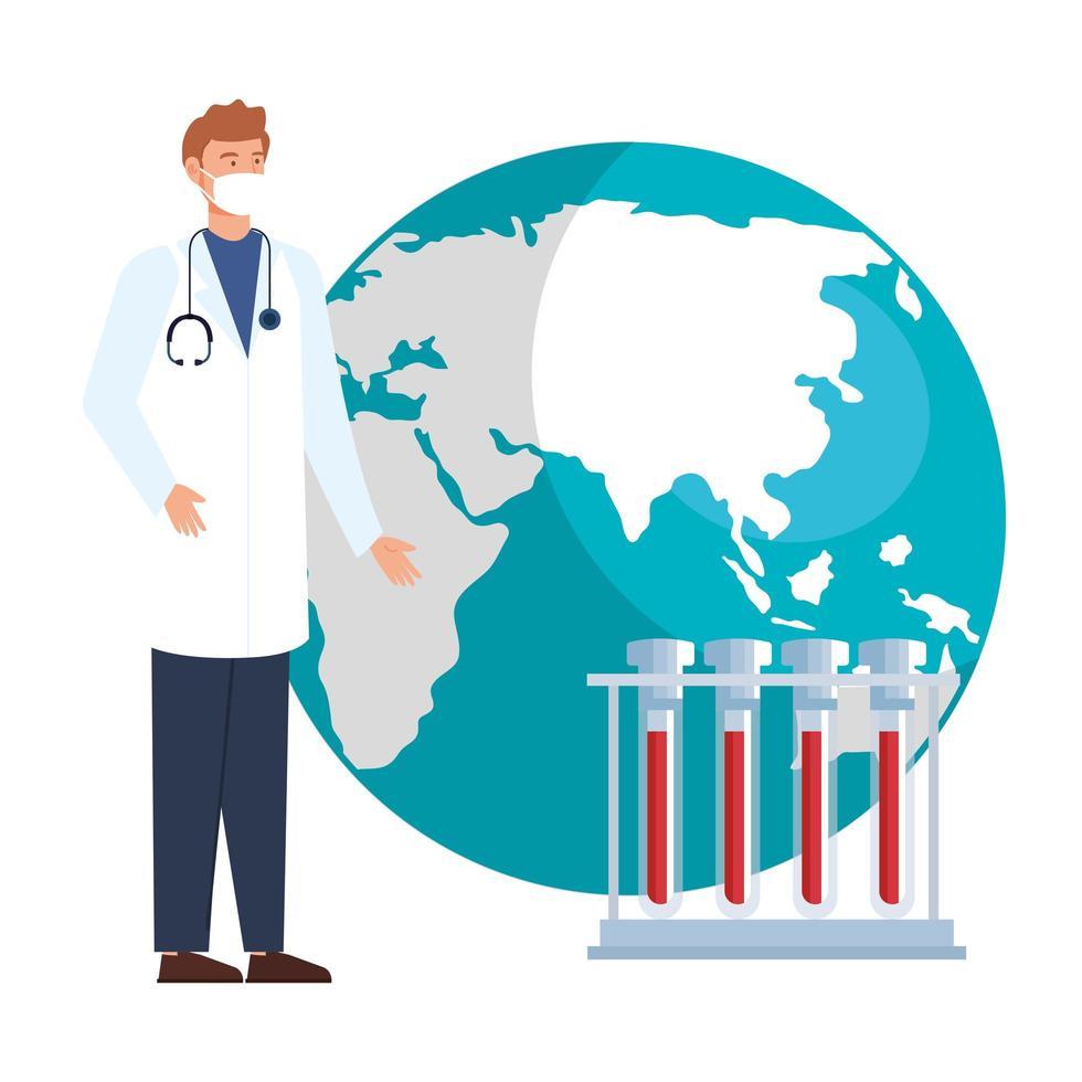 médecin de sexe masculin avec planète mondiale et tubes à essai vecteur