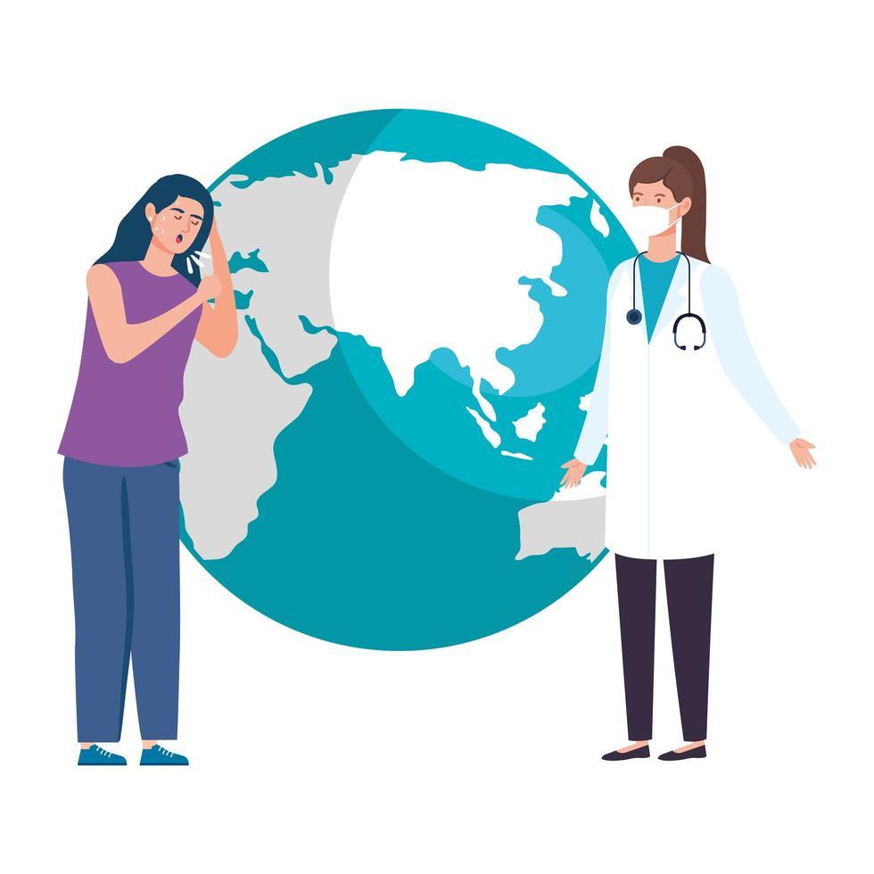 femme malade et médecin avec la planète terre vecteur