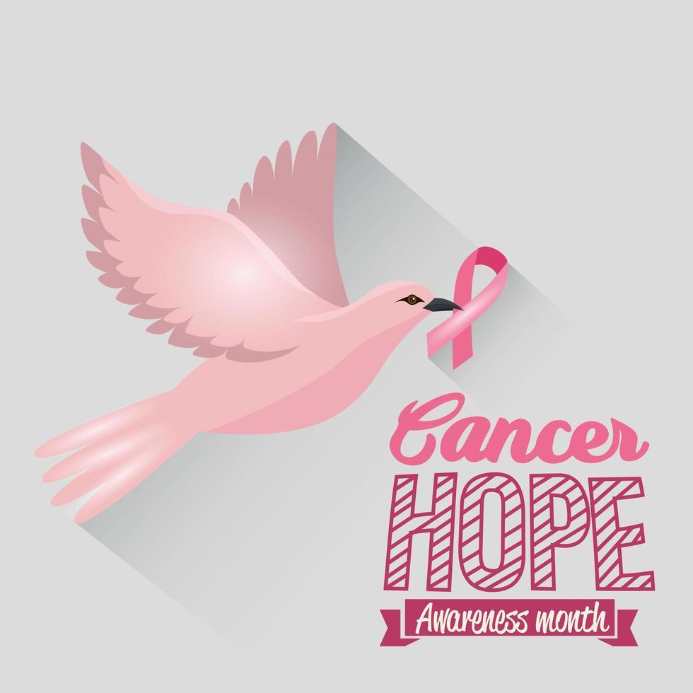 affiche du mois de sensibilisation au cancer du sein avec colombe rose vecteur
