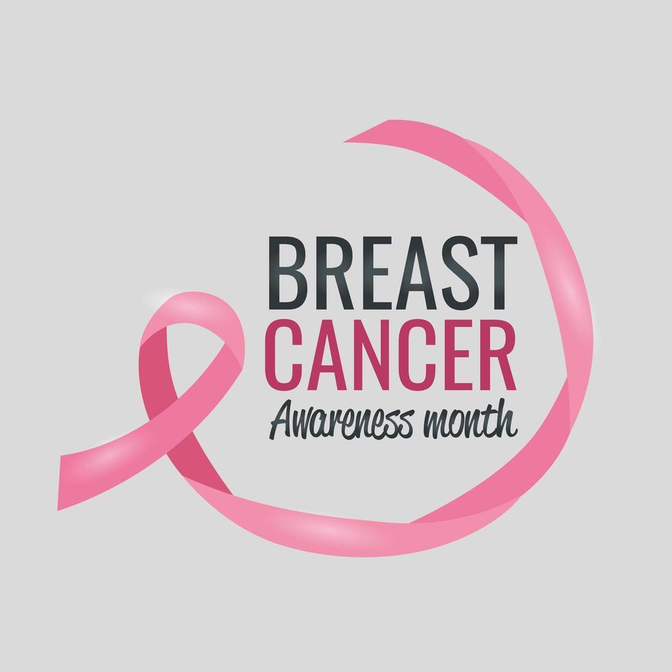 affiche du mois de sensibilisation au cancer du sein avec ruban rose vecteur