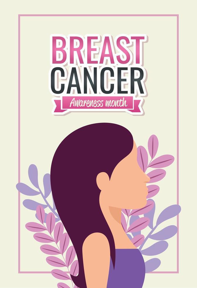 affiche du mois de sensibilisation au cancer du sein avec visage de femme vecteur