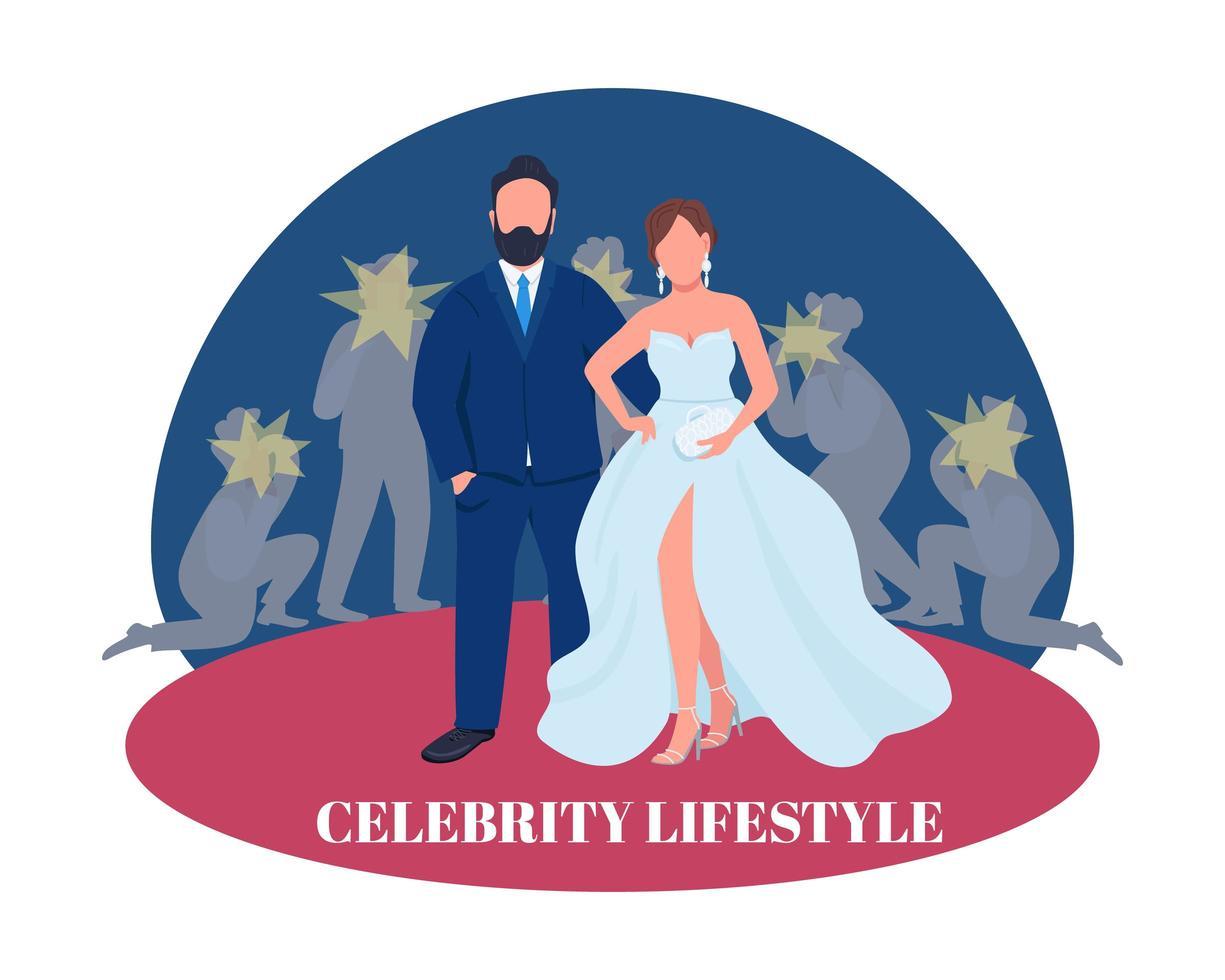 couple de célébrités sur tapis rouge vecteur