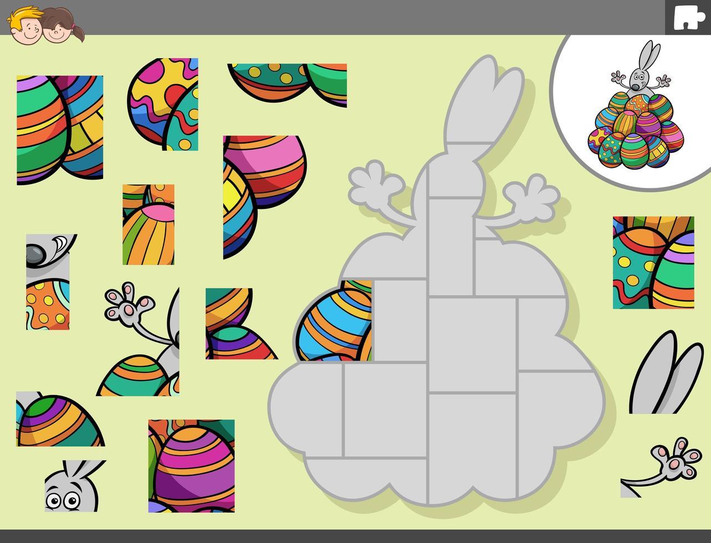 jeu de puzzle avec lapin de Pâques et oeufs vecteur