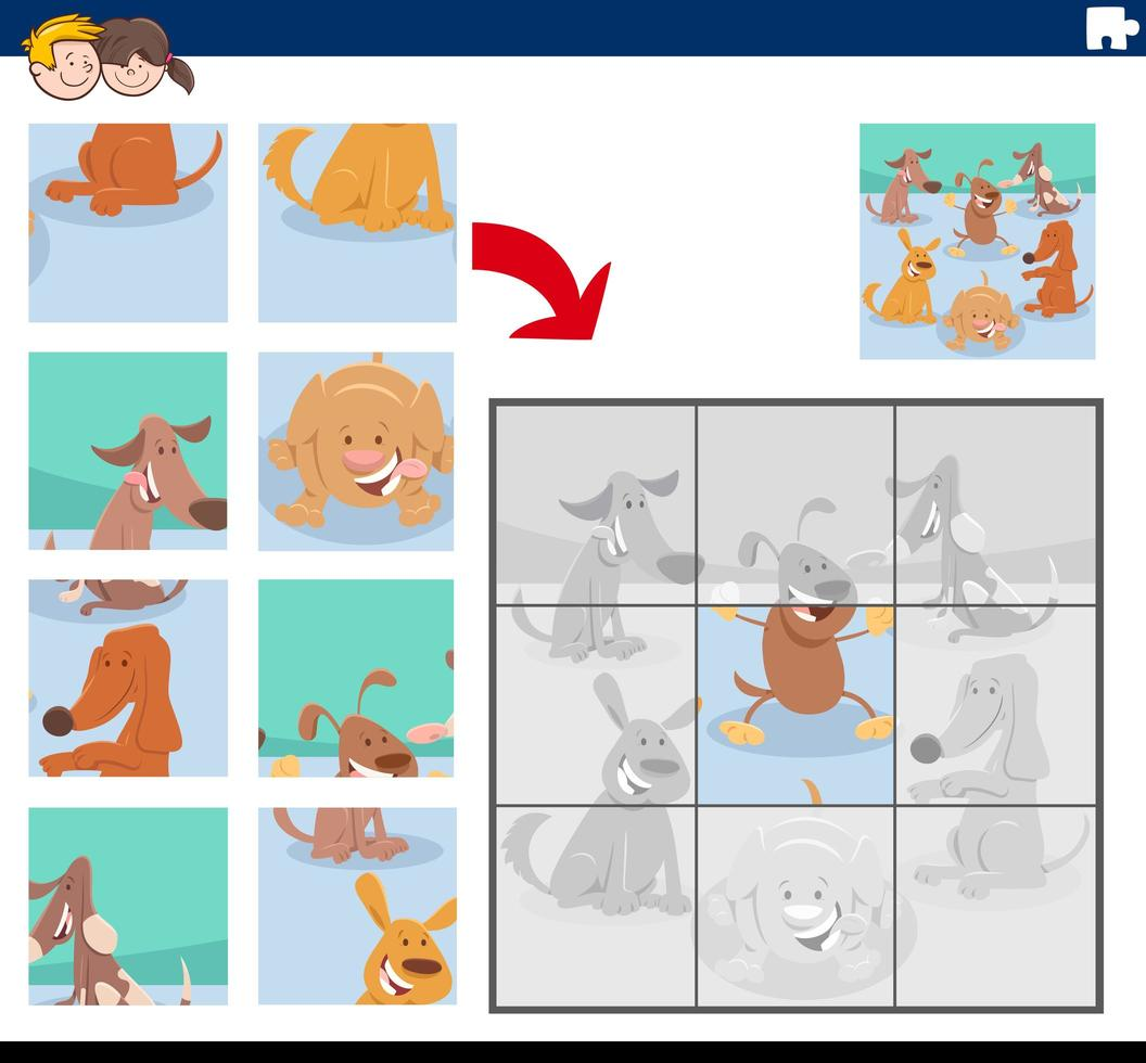 jeu de puzzle avec des personnages de chiens mignons vecteur