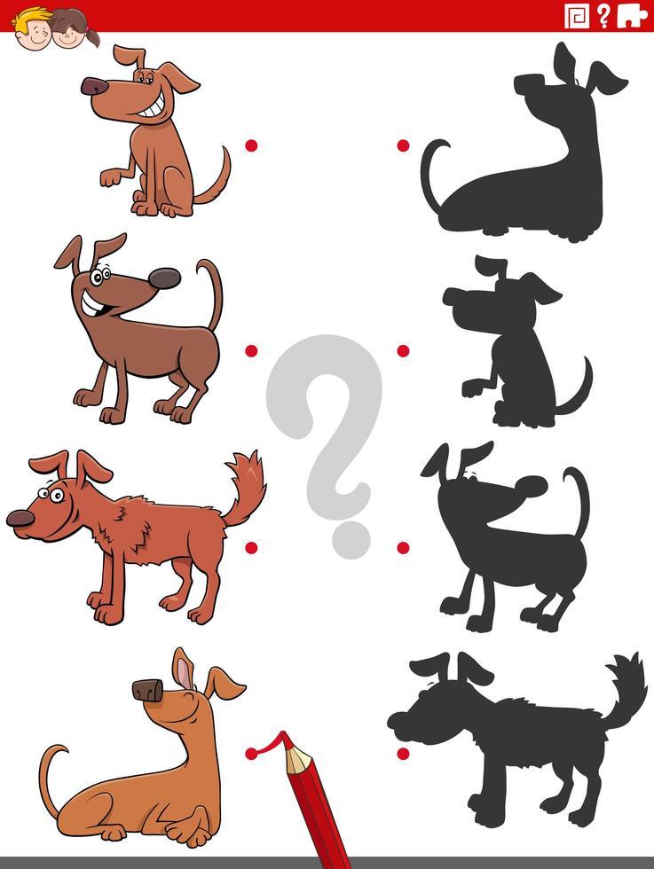 jeu d'ombre avec des personnages de chiens comiques vecteur
