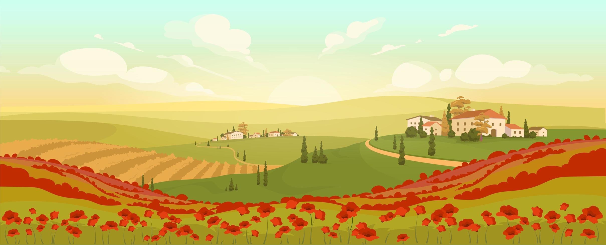 paysage toscan classique vecteur