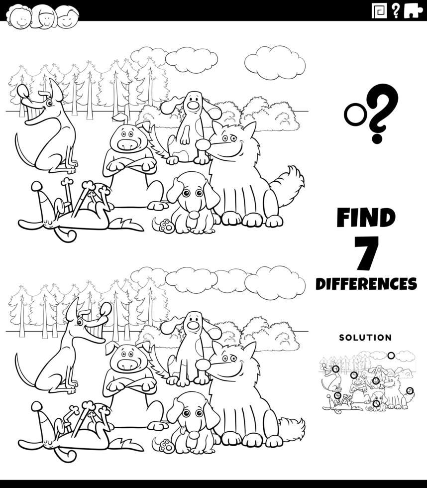 Tâche de différences avec la page du livre de couleurs du groupe de chiens vecteur