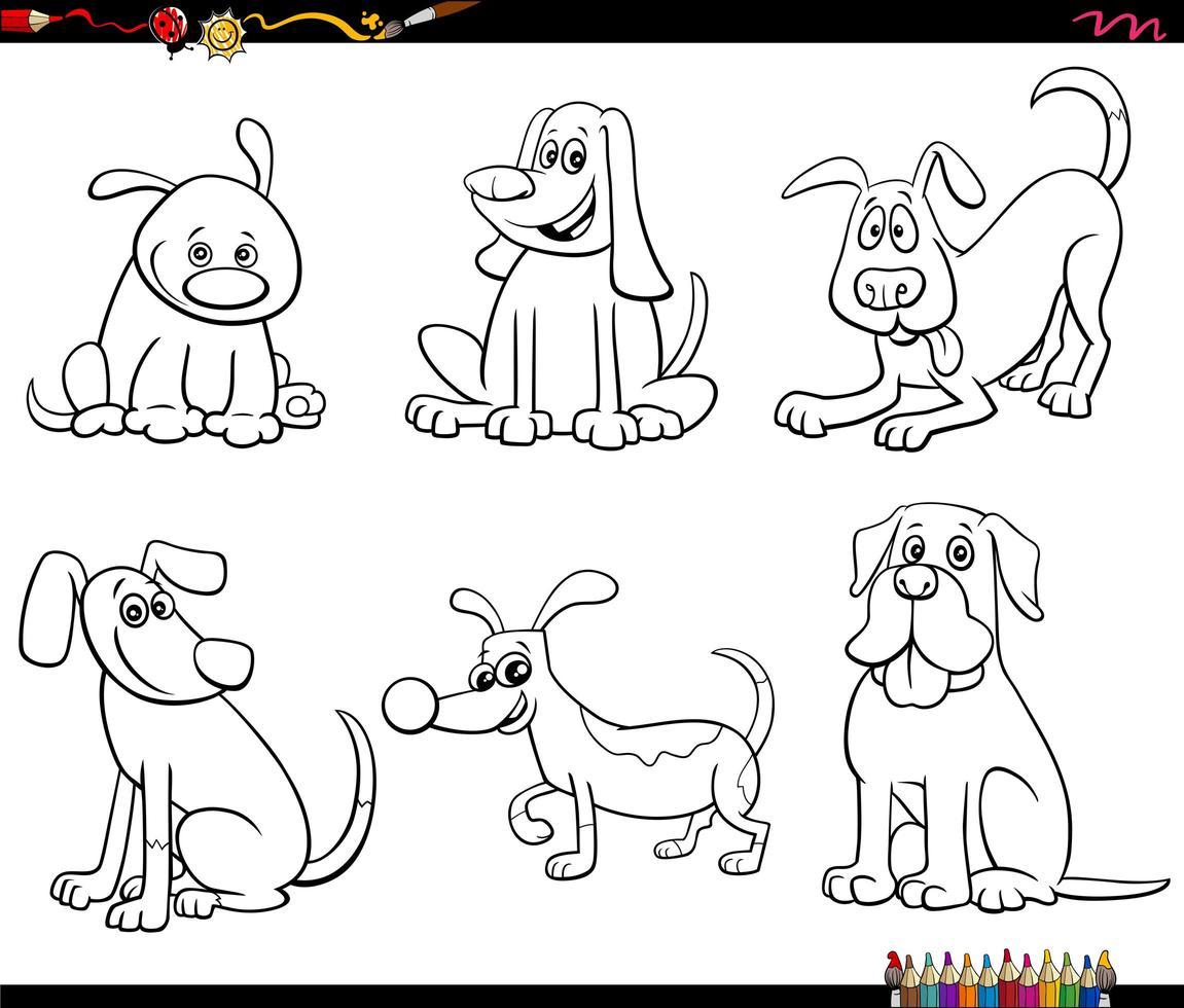 dessin animé, chien, caractères, ensemble, livre coloration vecteur