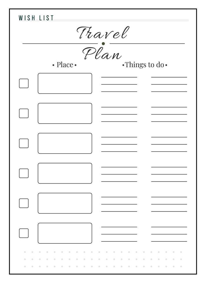 conception de page de planificateur minimaliste de liste de voyage vecteur