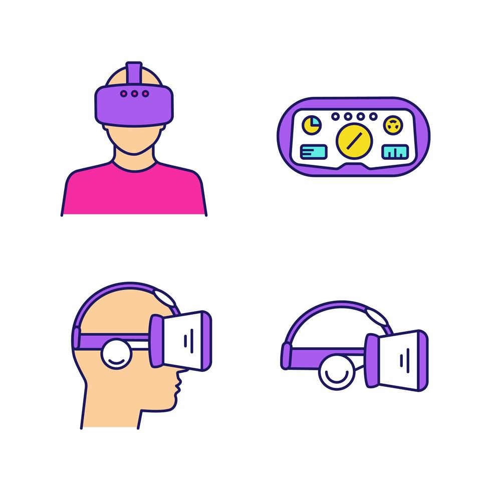 jeu d'icônes de couleur de réalité virtuelle. vecteur