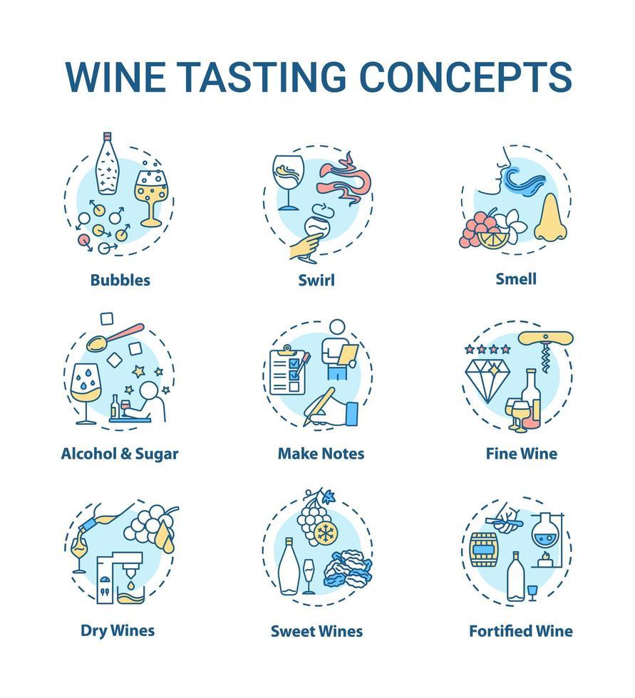 jeu d'icônes de concept de dégustation de vin. vecteur