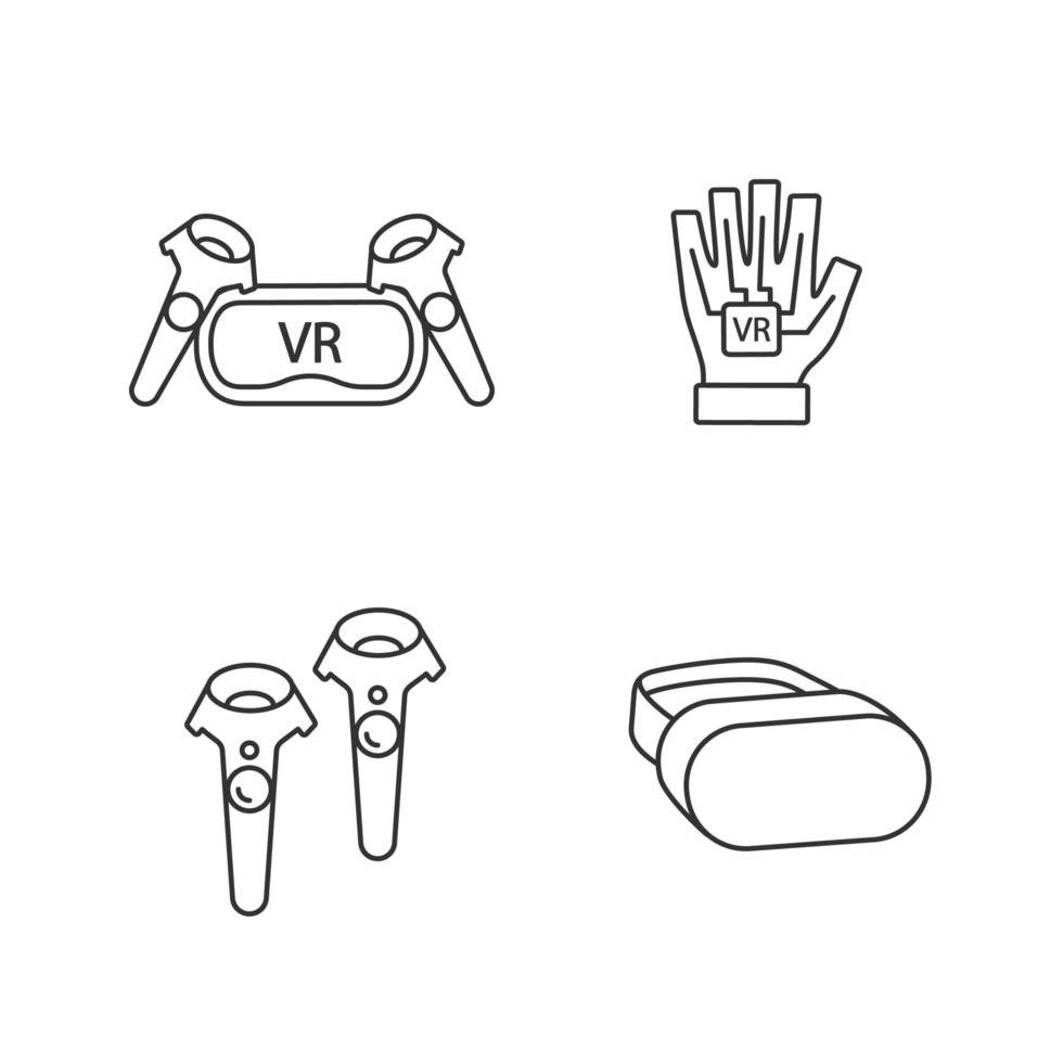 ensemble d & # 39; icônes linéaires de dispositifs de réalité virtuelle vecteur