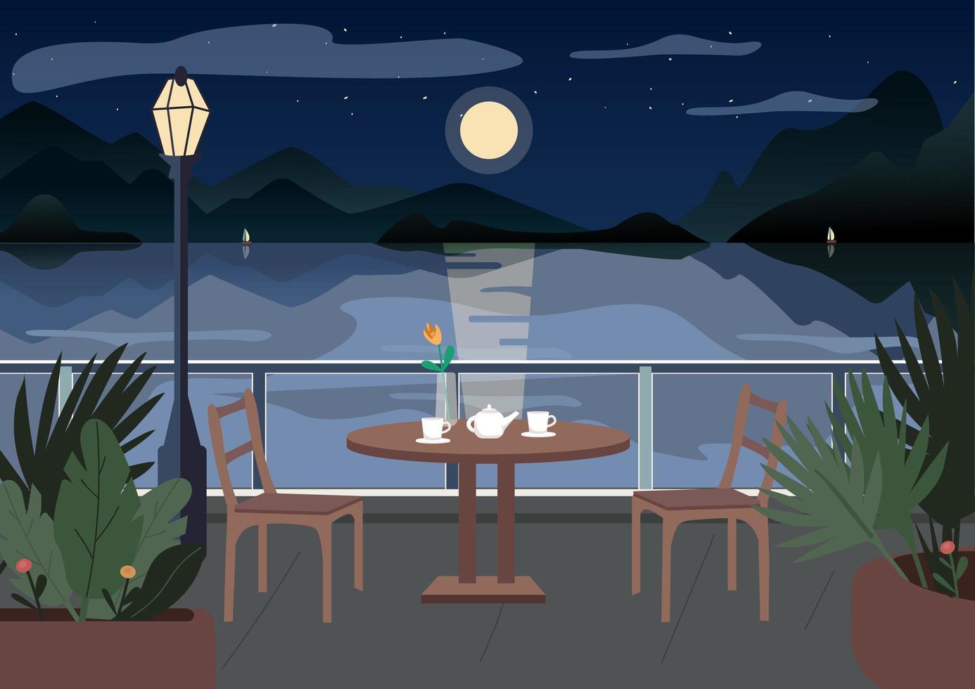 restaurant de rue la nuit vecteur