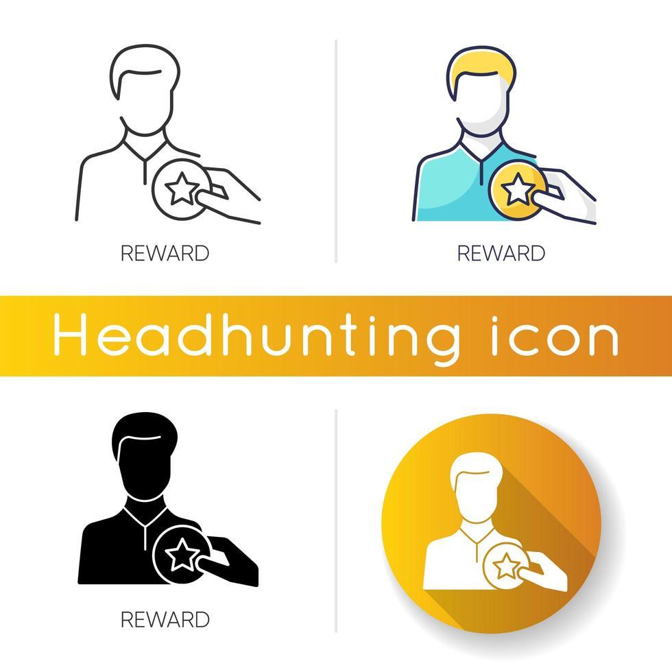 jeu d'icônes de récompense. vecteur
