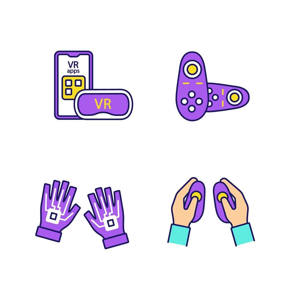 jeu d & # 39; icônes de couleur de périphériques de réalité virtuelle vecteur