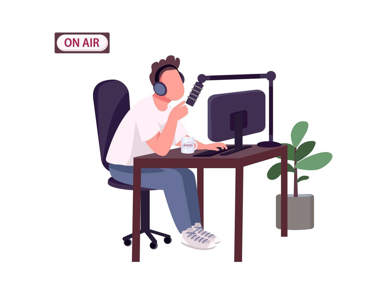 hôte de podcast en ligne vecteur