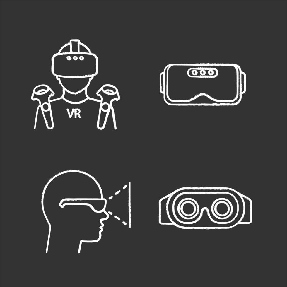 jeu d'icônes de craie de réalité virtuelle. vecteur