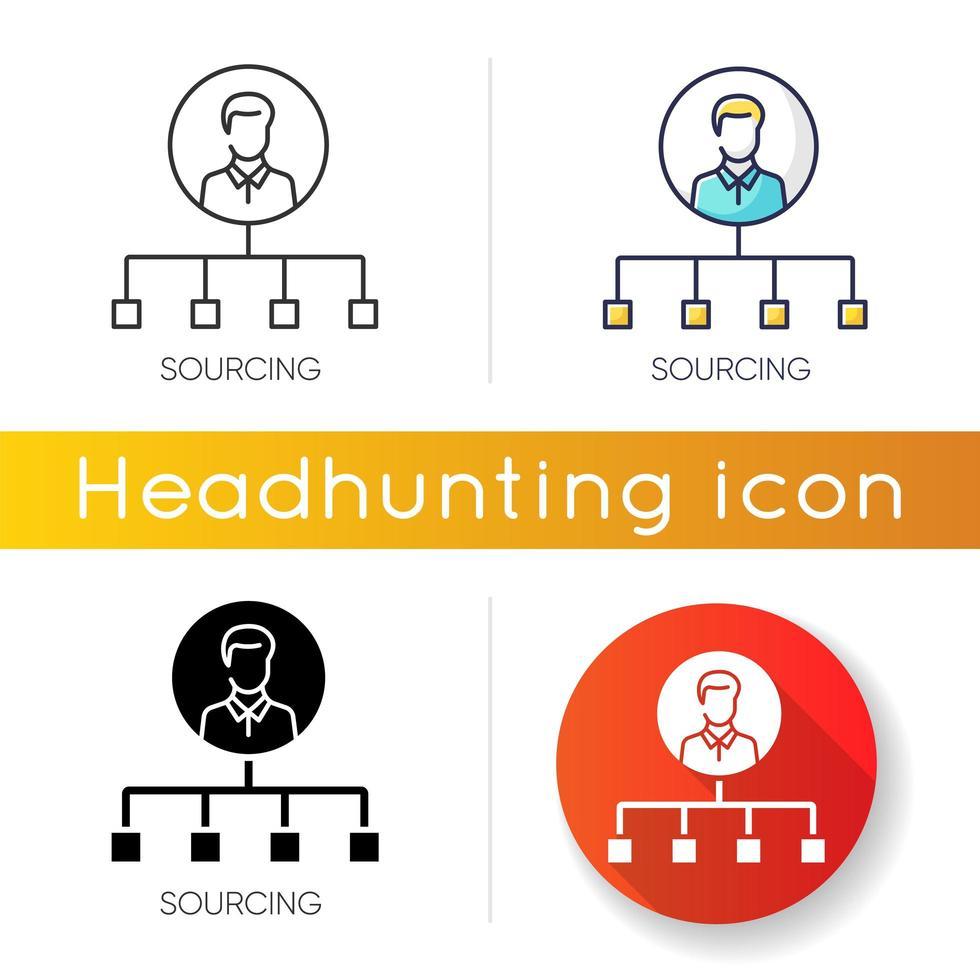 jeu d'icônes de sourcing vecteur