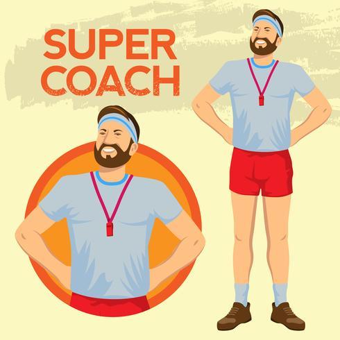 Super fier entraîneur sportif en position debout vecteur