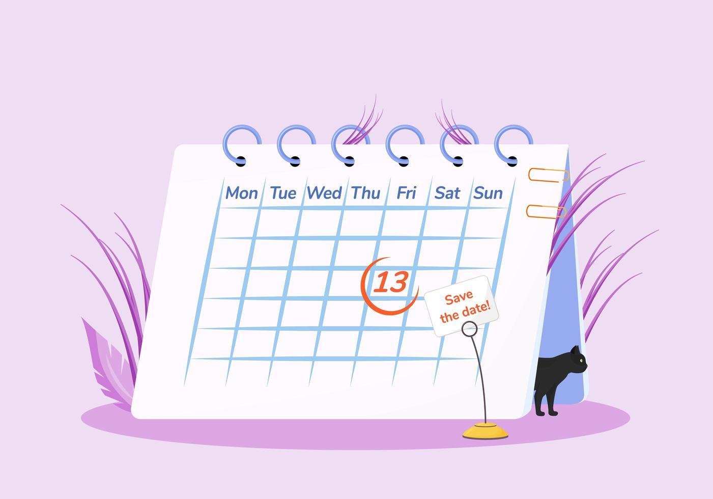 vendredi 13 au calendrier vecteur