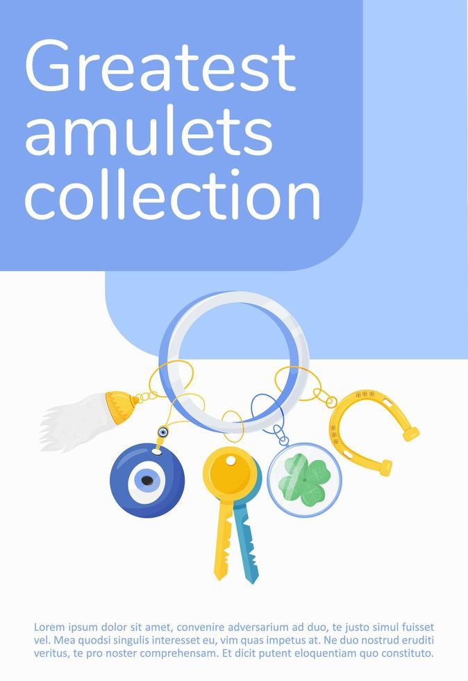 affiche de la plus grande collection d'amulettes vecteur