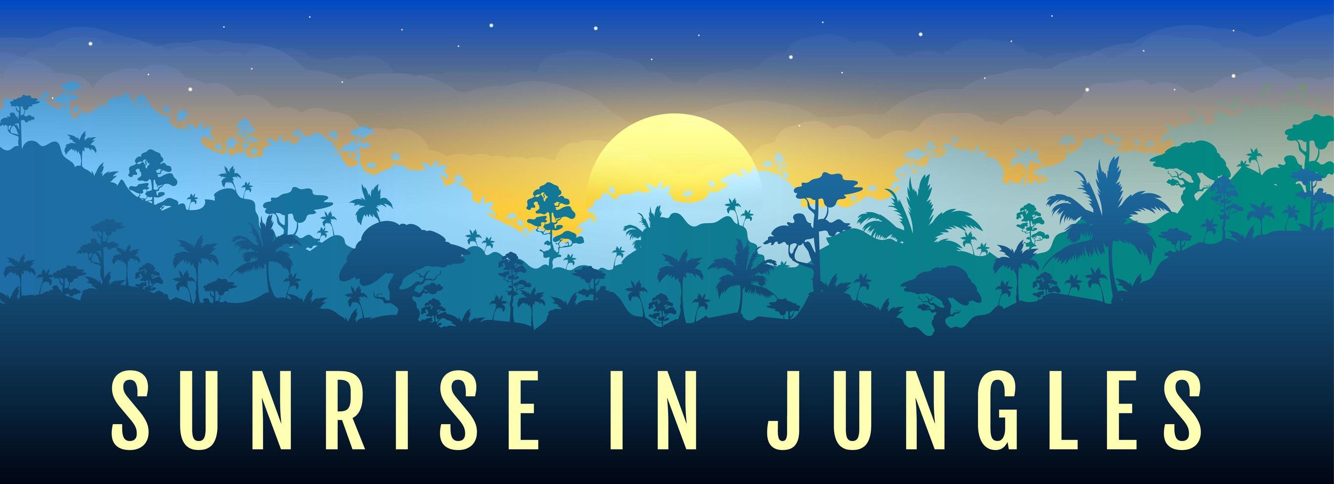 lever du soleil dans la bannière de la jungle vecteur