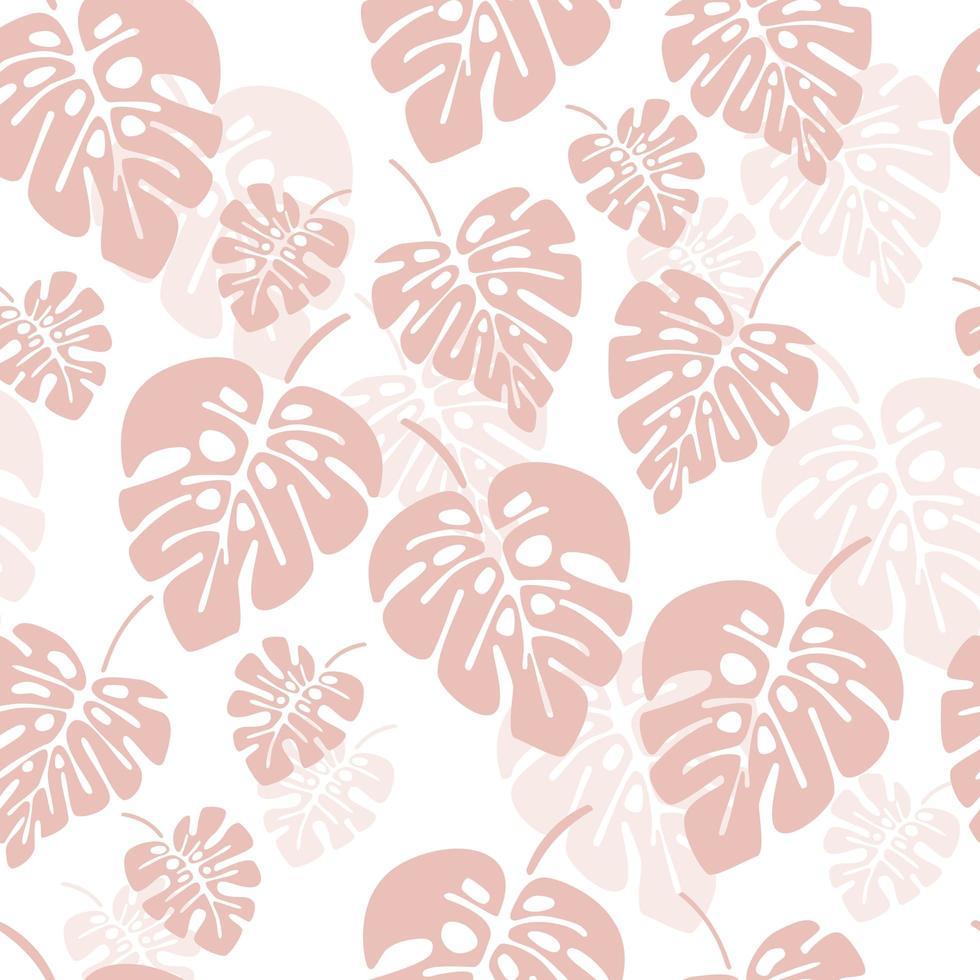 modèle sans couture d & # 39; été avec des feuilles de palmier rose monstera vecteur